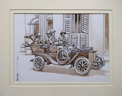 "Old Kolkata Painting, British Car, Watercolour, Brown by Indian artist""In Stock"""