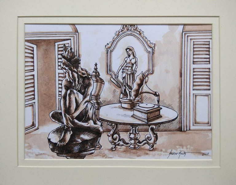 "Saikat Maity Interior Art - Old Kolkata, Gramophone, Watercolour, Sepia Brown, Colonial India ""In Stock"""