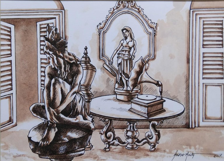 Old Kolkata, Gramophone, Watercolour, Sepia Brown, Colonial India
