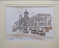 Set of 5 CityScapes, Watercolours, Sepia Color, Colonial Bengal, India'In Stock'