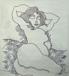"Lady with Flowers,Nude Drawing, Ink on canvas by Indian Modern Master ""In Stock"""