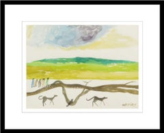 "My Village, Landscape, Watercolor on Paper, Blue, Green, Brown, Yellow""In Stock"""