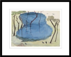 "Landscape, Trees, Pond, Watercolor on paper, Blue, Green, Brown Colors""In Stock"""