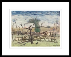 "Landscape, Crow, Watercolor on paper, Blue, Green, Brown Colors ""In Stock"""