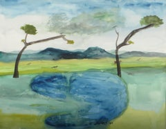 "Landscape,Watercolor, Blue Green Brown by Master Surreal Artist ""In Stock"""