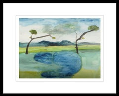 "Fish, Water, Watercolor on paper, Blue, Green, Brown by Indian Artist ""In Stock"""