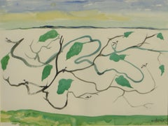 "Birds sitting on the tree, Landscape, Watercolor, Brown, Green, Blue ""In Stock"""