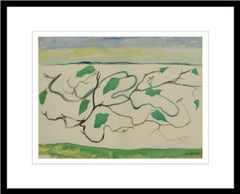 "Landscape, Watercolor on paper, Green, Blue by Master Indian Artist ""In Stock"""