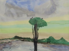 "Landscape, Birds Sitting on the Tree, Watercolor, Mauve, Green, Blue ""In Stock"""