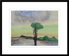 "Landscape, Birds,Trees, Watercolor on paper, Mauve, Green, Blue colors""In Stock"""