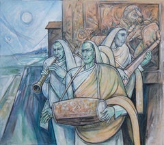 "Ragh Darbari Kanada, Mixed Media on canvas, Blue by Indian Artist ""In Stock"""