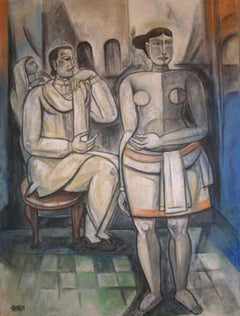 "Figurative, Mixed Media on canvas, Blue, White by Modern Indian Artist""In Stock"""