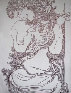 """Lady with the Lamp, Nude Drawing, Ink on canvas by Modern IndianArtist""""In Stock"""""""
