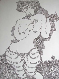 "Flower Girl, Nude Drawing, Ink on canvas by Indian Modern Master ""In Stock"""