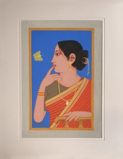 "Biwi, Women with Butterfly, Tempera on Board, Blue, Red, Bengal Artist""In Stock"""