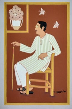 "Bengali Man, Brown and Whilte Colour, Tempera on Board, Master Artist""In Stock"""