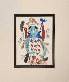 "Devi, Watercolour on Paper, Blue, Brown by Modern Indian Artist ""In Stock"""