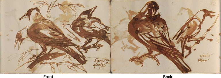 """Dipen Bose Animal Painting - Crows Series, Watercolour on paper, Rare Art by Indian Bengal Artist """"In Stock"""""""