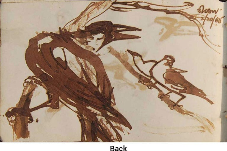 Crows Series, Watercolour on paper, Rare Art by Indian Bengal Artist