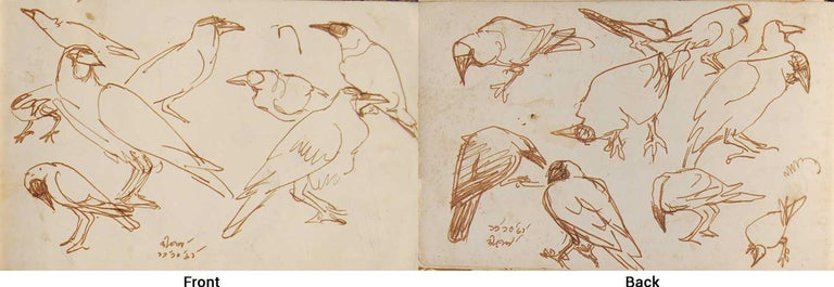 "Dipen Bose Animal Art - Crows Series, Watercolour on paper, Rare Art by Indian Bengal Artist ""In Stock"""