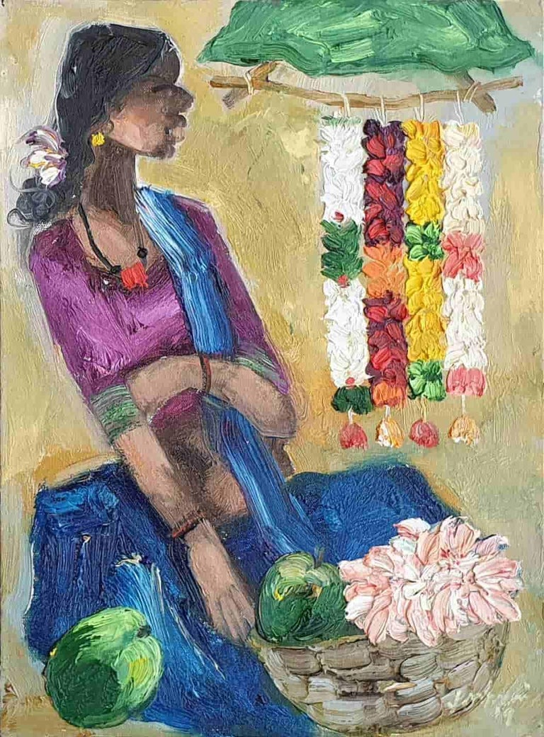 Seller, Expressionism, Oil on Acrylic sheet by Indian Artist