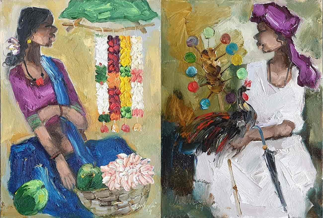 """Seller, Expressionism, Oil on Acrylic sheet by Indian Artist """"In Stock"""""""