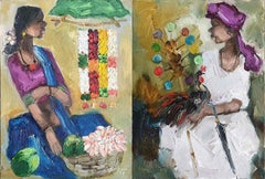"Seller, Expressionism, Oil on Acrylic sheet by Indian Artist ""In Stock"""