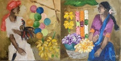 """Man Selling Balloons and Woman Flowers, Oil on Canvas Brown Green """"In Stock"""""""