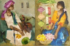 "Flower Girl & Man with Rooster, Oil on Canvas, Green Blue Yellow Brown""In Stock"""