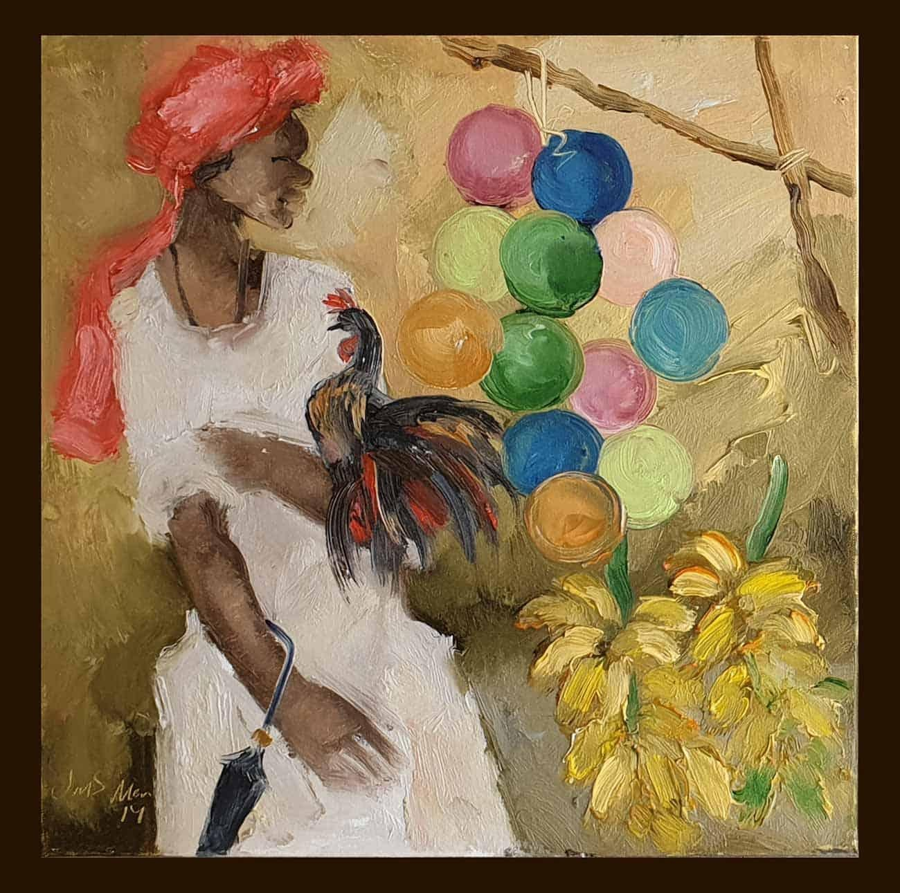 """Badami People, Oil on Canvas, Green,Red by Contemporary Artist """"In Stock"""""""