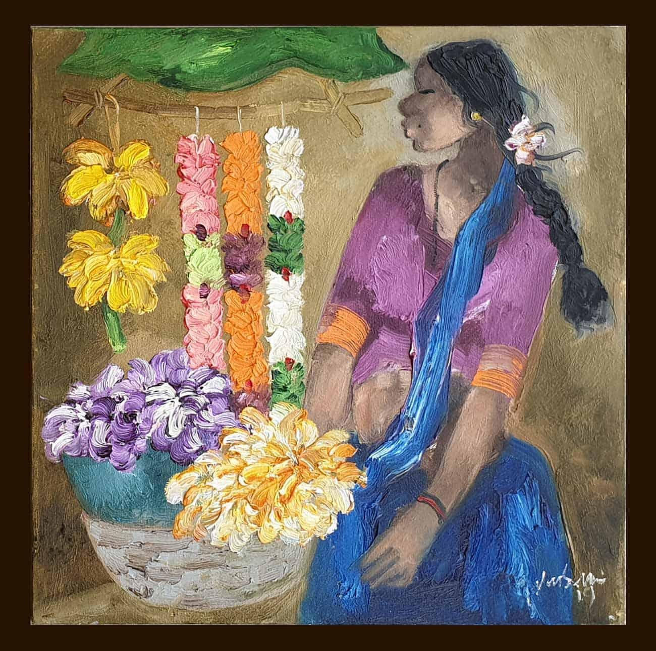 """Badami People, Oil on Canvas,Purple, Blue by Contemporary Artist """"In Stock"""""""