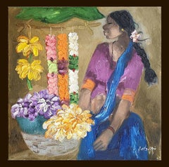 "Badami People, Oil on Canvas,Purple, Blue by Contemporary Artist ""In Stock"""