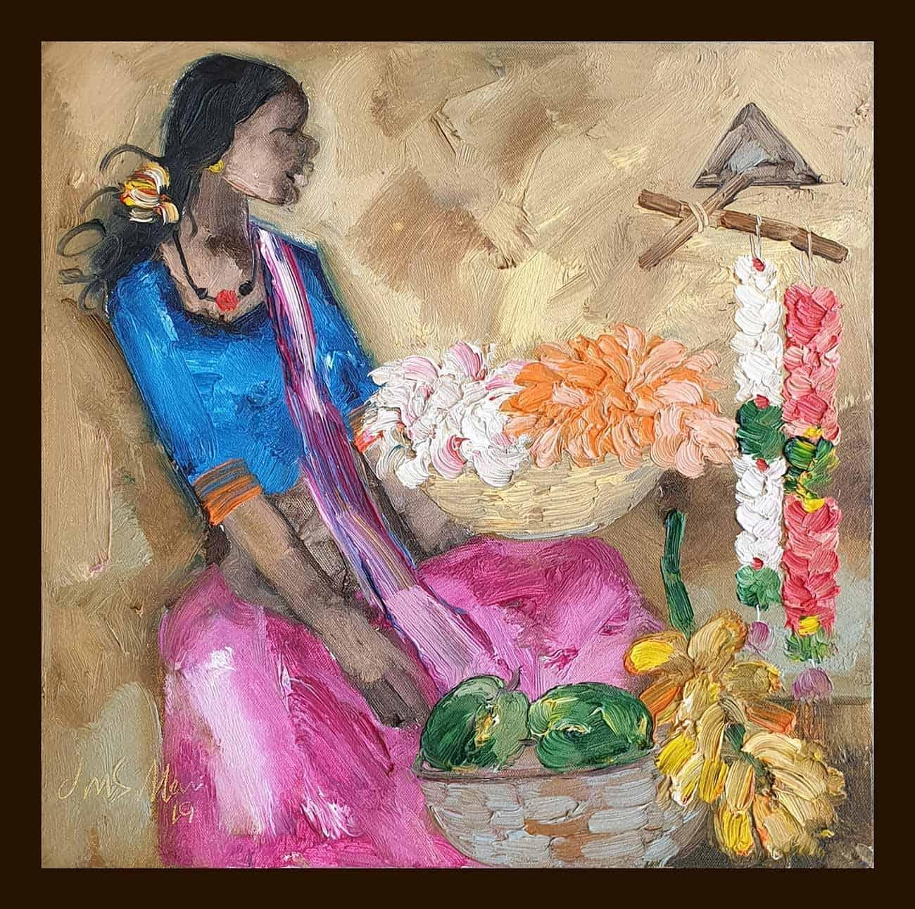 """Badami People, Oil on Canvas,Pink, Blue by Contemporary Artist """"In Stock"""""""