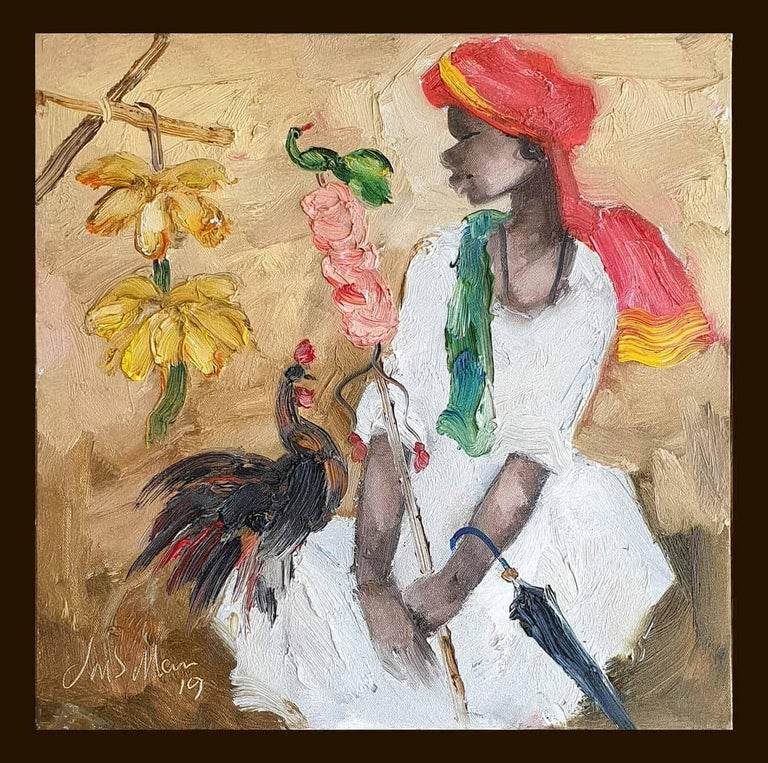 """JMS Mani Portrait Painting - Badami People, Oil on Canvas, White,Red by Contemporary Artist """"In Stock"""""""