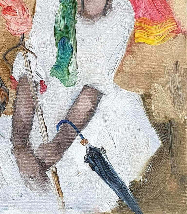 Badami People, Oil on Canvas, White,Red by Contemporary Artist