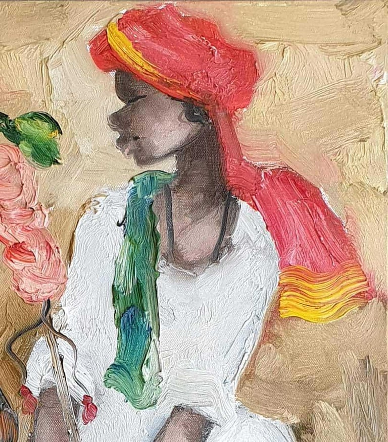 JMS Mani - Badami People Oil on Canvas - 16 x 16 inches each (unframed size) Inclusive of shipment in ready to hang form.  The simple, rustic folk of the Deccan Plateau in South India, with strong Dravidian (an ancient race in South India) features,