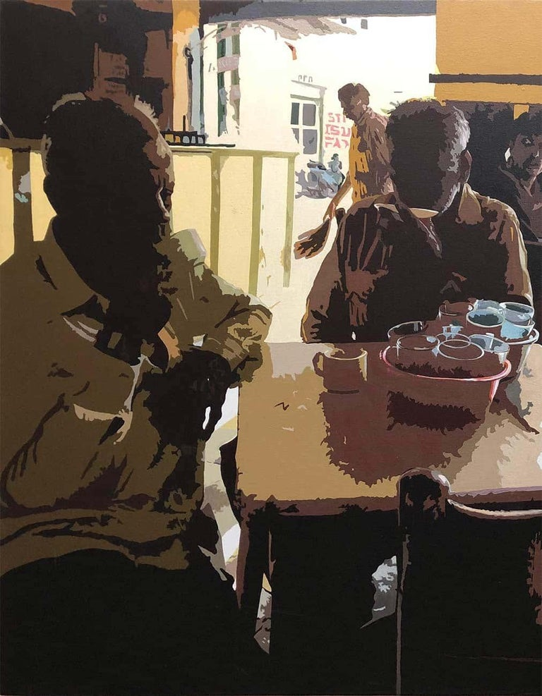 Cafe, Acrylic on Canvas, Black, Brown by Indian Artist