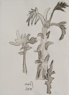 "Trees, Drawing, Charcoal, Wash on paper by Indian,Padma Bhushan Artist""In Stock"""