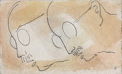 """Gandhi,Father of Nation,Ink on paper, Black and Beige, Badri-Narayan """"In Stock"""""""