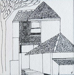 "House, Drawing, Ink on paper, Black & White by Modern Indian Artist ""In Stock"""