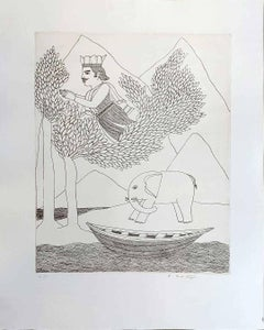 """King, Elephant, Boat, Trees, Etching on paper by Master Indian Artist """"In Stock"""""""