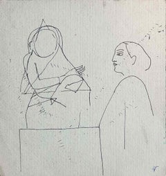 """Sketch of Women, Drawing, Ink on paper, by Modern Indian Artist """"In Stock"""""""