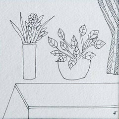 "Still Life, Flower Vase, Drawing, Ink on paper by Modern Indian Artist""In Stock"""