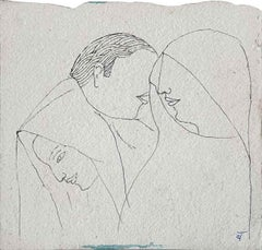 """Man & Women, Drawing, Ink on paper by Modern Indian Artist """"In Stock"""""""