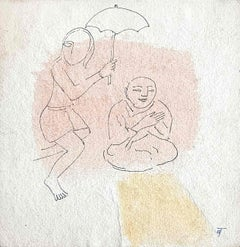 """Drawing, Ink on paper, Pink & Yellow by Modern Indian Artist """"In Stock"""""""
