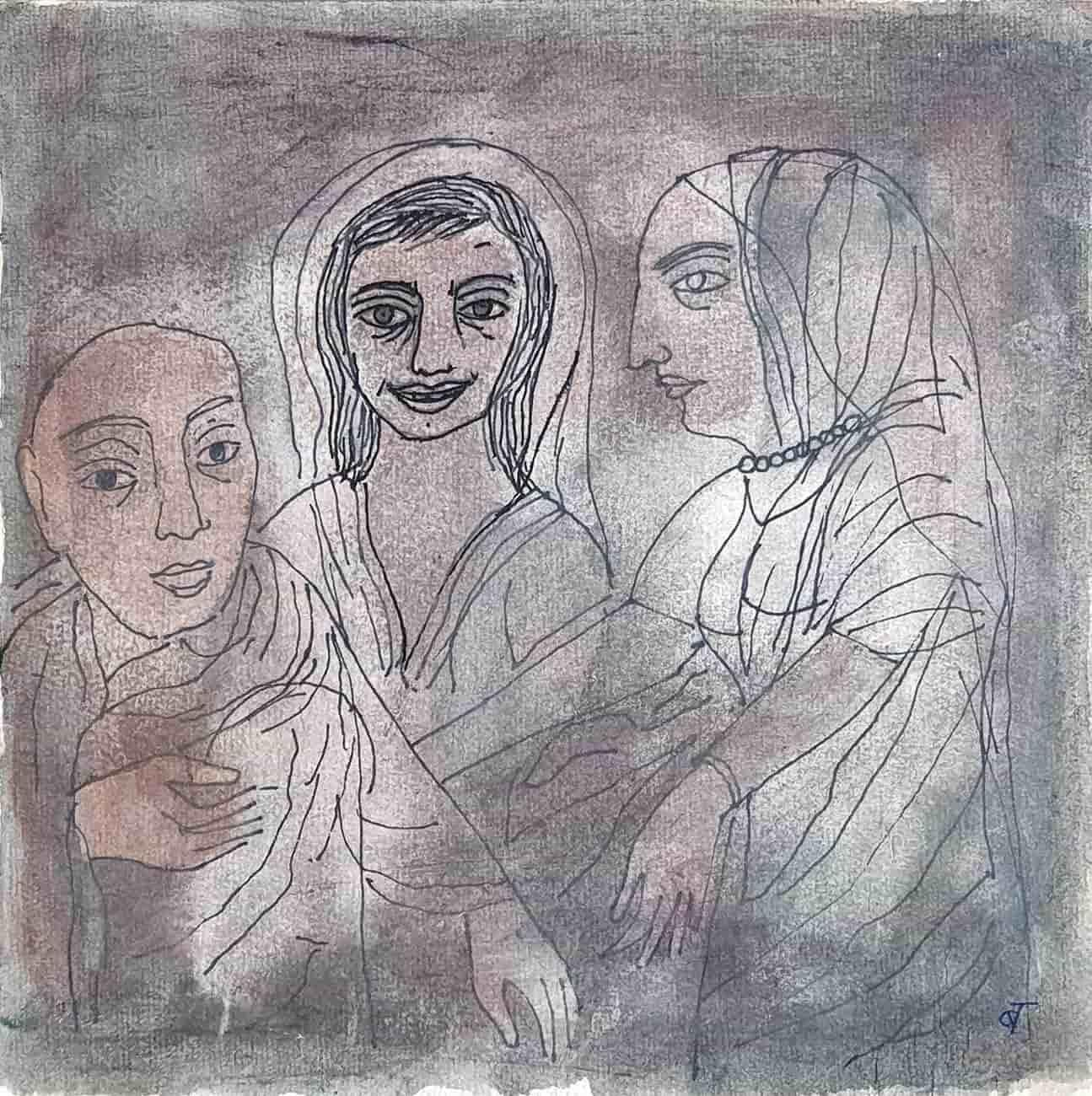 """Figurative, Ink, Watercolor, Mixed Media on paper by Badri Narayan """"In Stock"""""""