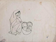 """Fruit Seller, Woman, Drawing, Ink on paper by Modern Indian Artist """"In Stock"""""""