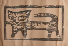 "Cat, Animal, Wood Cut on paper, Brown by Modern Indian Artist ""In Stock"""