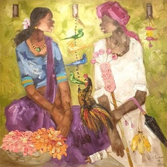 "Indian Man & Woman , Rooster , Flowers , Oil on Canvas, Green Orange ""In Stock"""