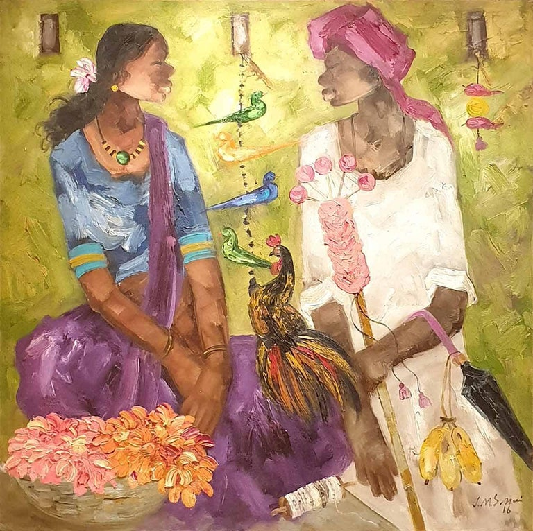 """JMS Mani Portrait Painting - Indian Man & Woman , Rooster , Flowers , Oil on Canvas, Green Orange """"In Stock"""""""